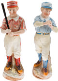 Baseball Collectibles:Others, 1880's Heubach Baseball Ceramic Figurines Matched Pair....
