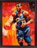 Basketball Collectibles:Others, 2000's LeBron James Signed Original Malcolm Farley EmbellishedArtwork. ...