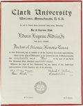 Explorers:Space Exploration, Buzz Aldrin's 1969-Dated Honorary Doctorate from Clark University,Worcester Massachusetts. ...