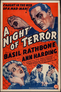 """Love from a Stranger (Guaranteed, R-1942). One Sheet (27"""" X 41""""). Thriller. Re-Issue Title: A Night of Terror..."""