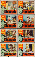 "Movie Posters:Animation, Pinocchio (RKO, R-1954). Lobby Card Set of 8 (11"" X 14"").Animation.. ... (Total: 8 Items)"