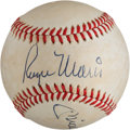 Autographs:Baseballs, 1970's Roger Maris & Mickey Mantle Dual-Signed Baseball....
