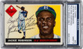 Baseball Cards:Autographs, Signed 1955 Topps Jackie Robinson #50 PSA/DNA Mint 9! ...