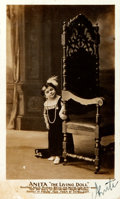 """Books:Americana & American History, Signed Real Photo Postcard """"Anita the Living Doll"""", Circa1890-1900. 3.5"""" x .5."""". Anita, a little person, stands next to ap..."""