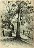 Books:Prints & Leaves, James William Embury (1830-1889). Original Pencil Drawing. Signed and dated 1879. Measures roughly 10 x 14 inches. Born in B...