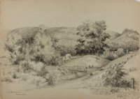 James William Embury (1830-1889). Original Pencil Drawing. Signed and dated 1876. Measures roughly 14 x 10 inches. Bo
