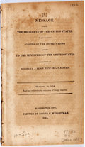 Books:Americana & American History, [James Madison]. Message From the President of the United StatesTransmitting Copies of the Instructions Given to the Mi...