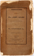 Books:Americana & American History, [John Adams]. Correspondence Between the Hon. John Adams LatePresident of the United States, and the Late Wm. Cunningha...