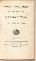 Books:World History, [Israel Mauduit]. Considerations on the Present German War. London: John Wilkie, 1760. Third edition. 144 pages....