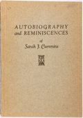 Books:Biography & Memoir, Sarah J. Cummins. Autobiography and Reminiscences. Published by the author, 1914. First edition. Octavo. Publish...