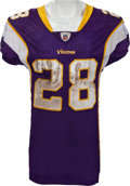 Football Collectibles:Uniforms, 2011 Adrian Peterson Game Worn (Unwashed) Minnesota Vikings Jersey, Pants and Socks - From 1/17 Playoff Game Vs. Cowboys. ...
