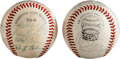 Autographs:Baseballs, 1970's Los Angeles Dodgers Partial Team Signed Baseballs Lot of2....