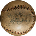 Autographs:Baseballs, 1930's Lou Gehrig, Connie Mack, Joe McCarthy, Mickey Cochrane & Lefty Gomez Multi Signed Baseball....