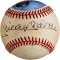 Autographs:Baseballs, Circa 1980 Mickey Mantle & Roger Maris Signed Portrait Baseball....