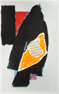 Prints:Contemporary, ROBERT MOTHERWELL (American, 1915-1991). Black for Mozart,1991. Lithograph in colors with collage. 59-5/8 x 37-5/8 inch...