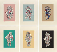 JEAN DUBUFFET (French, 1901-1985) Presences Fugaces (six works), 1973 Screenprint in colors Each