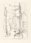 Prints:European Modern, ALBERTO GIACOMETTI (Swiss, 1901-1966). Personnage DansL'Atelier, 1954. Lithograph. 21-3/4 x 14-1/8 inches (55.1 x35.8 ...