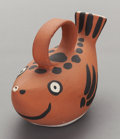 Ceramics & Porcelain, PABLO PICASSO (Spanish, 1881-1973). Fish Subject, 1952. Red earthenware clay with decoration. 5-1/2 x 8-1/2 x 3-1/2 inch...