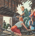 Illustration:Magazine, MORT KÜNSTLER (American, b. 1931). Shootout with Russians inBarn, Male or Stag magazine cover, circa 1965. Gouache on b...