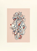 Prints:Contemporary, JEAN DUBUFFET (French, 1901-1985). Objectador (from thePresences Fugaces series), 1973. Screenprint in colors.19-3...