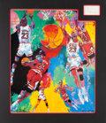 Basketball Collectibles:Others, 1990 Michael Jordan Signed Cut Signature LeRoy Neiman Display....