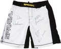Miscellaneous Collectibles:General, 2007-08 MMA Signed Fight Trunks Lot of 2. ...
