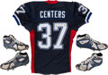 Football Collectibles:Others, 2002 Larry Centers Game Worn Cleats Lot of 2 and Signed Authentic Buffalo Bills Jersey....