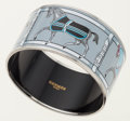 Luxury Accessories:Accessories, Hermes 65mm Gray & White Enamel Bangle Bracelet with PalladiumHardware . ...