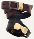 Luxury Accessories:Accessories, Gucci Set of Two; Burgundy Lizard Belt & Black Leather Beltwith Gold Hardware. ... (Total: 2 Items)
