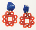 Art Glass:Daum, Yves Saint Laurent Red & Blue Resin Earrings with GoldHardware. ...