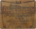Golf Collectibles:Ephemera, 1938 U.S. Open Spectator's Badge....