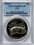 Modern Issues: , 1991-S $1 USO Silver Dollar PR69 Deep Cameo PCGS. PCGS Population(1796/68). NGC Census: (2031/44). Mintage: 321,275. Numis...