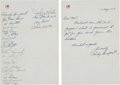 Autographs:Others, 1957 New York Yankees Team Signed Stationery. ...