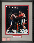 Boxing Collectibles:Autographs, 1971 Muhammad Ali & Joe Frazier Signed Oversized Neil LeiferPhotograph & Two Ticket Stubs. ...