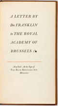 Books:Americana & American History, [Benjamin] Franklin. LIMITED. A Letter by Dr. Franklin to theRoyal Academy of Brussels. Blue-Behinded Ape, 1929. Li...