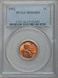 Lincoln Cents: , 1952 1C MS66 Red PCGS. PCGS Population (461/14). NGC Census:(713/73). Mintage: 186,856,976. Numismedia Wsl. Price for prob...
