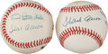 Baseball Collectibles:Balls, 1980's Hank Aaron & Sadaharu Oh Multi Signed Baseball & Aaron Signed Ball With Inscription. ...