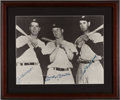 Baseball Collectibles:Photos, 1980's Joe DiMaggio, Mickey Mantle & Ted Williams SignedOversized Photograph. ...