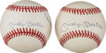 Baseball Collectibles:Balls, 1990's Mickey Mantle, Willie Mays & Duke Snider Multi Signed Baseball & Mantle Single Signed Baseball. ...