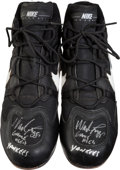 Baseball Collectibles:Others, 1990's Wade Boggs Game Worn Cleats With Player Letter. ...