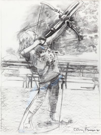 LARRY RIVERS (American, 1925-2002) Summer: Sam and his Crossbow, 1995 Charcoal on paper 51 x 37-1