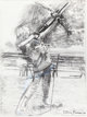 LARRY RIVERS (American, 1925-2002) Summer: Sam and His Crossbow, 1995 Charcoal on paper 51 x 37-1/2 inches (129.5 x 9