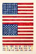 Prints, JASPER JOHNS (American, b. 1930). Two Flags (Whitney Anniversary), 1980. Lithograph in colors. 50 x 33-3/4 inches (127 x...