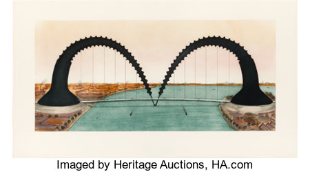 CLAES OLDENBURG (American, b. 1929)Screwarch Bridge (State III), 1981Etching, aquatint and monoprint in colors23-1...