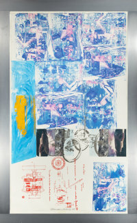 ROBERT RAUSCHENBERG (American, 1925-2008) Azure Reef (Renault Paper Work), 1984 Solvent transfer and