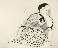 DAVID HOCKNEY (British, b. 1937) Celia in an Armchair, 1980 Lithograph in colors 37-3/8 x 42-1/2