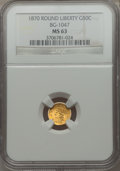 California Fractional Gold: , 1870 50C Goofy Head Round 50 Cents, BG-1047, High R.4, MS63 NGC.NGC Census: (6/1). PCGS Population (8/2). ...