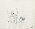 Animation Art:Production Drawing, Beach Picnic Pluto Production Drawing Animation Art (WaltDisney, 1939)....