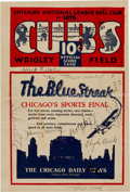 Autographs:Others, 1929 Chicago Cubs Partial Team Signed Program with Hack Wilson,PSA/DNA NM-MT 8....