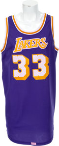 Basketball Collectibles:Uniforms, 1979-84 Kareem Abdul Jabbar Game Worn, Signed Los Angeles LakersJersey....